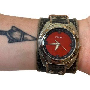 FOSSIL Red Dial Cuff Vintage Leather Watch 40mm